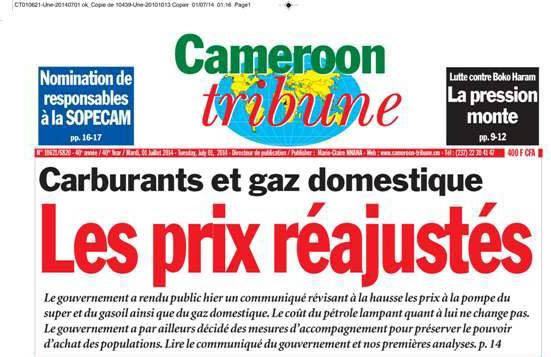 @Une du Cameroon Tribune